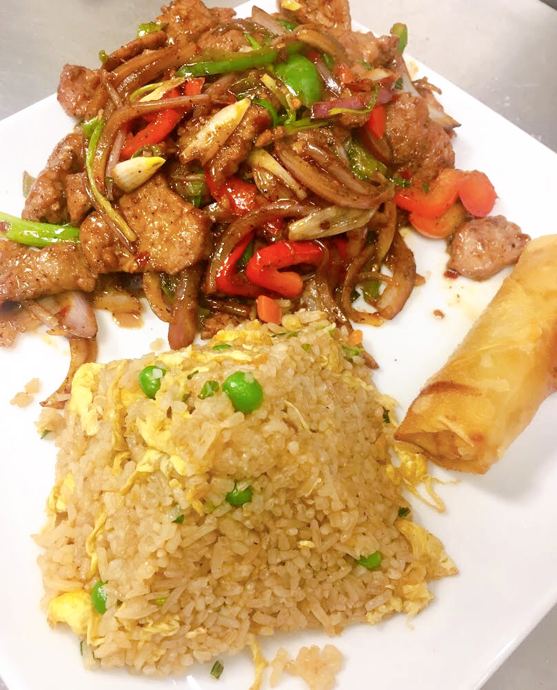 Mongolian Beef ( lunch portion) with fried rice and an egg roll